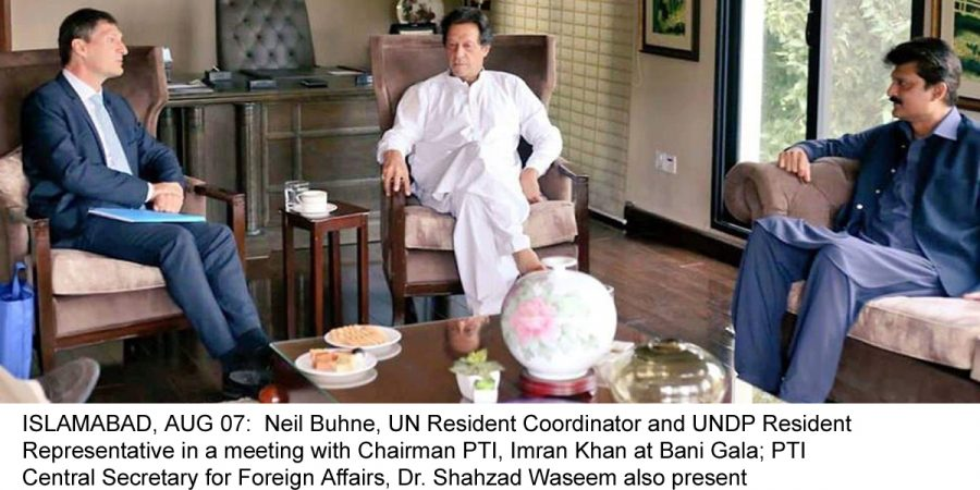 ISLAMABAD, AUG 07:  Neil Buhne, UN Resident Coordinator and UNDP Resident Representative in a meeting with Chairman PTI, Imran Khan at Bani Gala; PTI Central Secretary for Foreign Affairs, Dr. Shahzad Waseem also present on the occasion.=DNA PHOTO