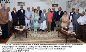 ISLAMABAD, SEPT 09: Ambassador of Yemen, Mohammed Motahar Alashabi hosted lunch in honour of outgoing Special Secretary of Ministry of Foreign Affairs, Aizaz Ahmed. Senior Foreign Office officials and Acting Dean of Africa, Ambassador of Tunisia, Adel Elarbi also attended the event.=DNA PHOTO