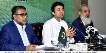 ISLAMABAD, SEPT 23: Minister of State for Communication, Murad Saeed addressing a press conference.=DNA PHOTO