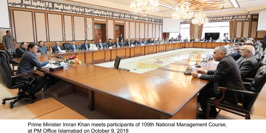 Prime Minister Imran Khan meets participants of 109th National Management Course, at PM Office Islamabad on October 9, 2018