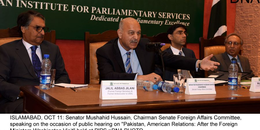 "ISLAMABAD, OCT 11: Senator Mushahid Hussain, Chairman Senate Foreign Affairs Committee, speaking on the occasion of public hearing on ""Pakistan, American Relations: After the Foreign Ministers Washington Visit"" held at PIPS.=DNA PHOTO"