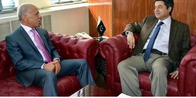 ISLAMABAD, OCT 16: Ambassador of Morocco, Mohamed Karmoune meets Federal Minister for Law and Justice, Barrister, Farogh Naseem.=DNA PHOTO