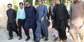ISLAMABAD, OCT 20: Prime Minister, Imran Khan visiting a newly constructed mosque at Bani Gala, on Saturday.=DNA PHOTO
