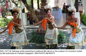 BALI, OCT 29: Balinese artists presenting a traditional Bali dance on the occasion of a luncheon hosted by Bali authorities for Pakistani delegation. DNA PHOTO AM BHATTI