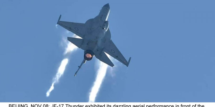 BEIJING, NOV 08: JF-17 Thunder exhibited its dazzling aerial performance in front of the delegations of various air forces on third day of Zhuhai Air Show.=DNA PHOTO