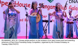 ISLAMABAD, NOV 20: Chinese artists perform on the occasion of an open house event and awarding ceremony of Pak-China Friendship Essay Competition, organized by the Chinese Embassy on Tuesday.=DNA PHOTO