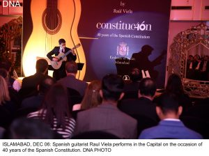 ISLAMABAD, DEC 06: Spanish guitarist Raul Viela performs in the Capital on the occasion of 40 years of the Spanish Constitution. DNA PHOTO