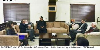 ISLAMABAD, JAN 17: Ambassador of Germany Martin Kobler in a meeting with Chairman PPP Bilawal Bhutto Zardari, on Thursday. DNA PHOTO
