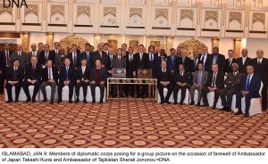 ISLAMABAD, JAN 9: Members of diplomatic corps posing for a group picture on the occasion of farewell of Ambassador of Japan Takashi Kurai and Ambassador of Tajikistan Sherali Jononov.=DNA