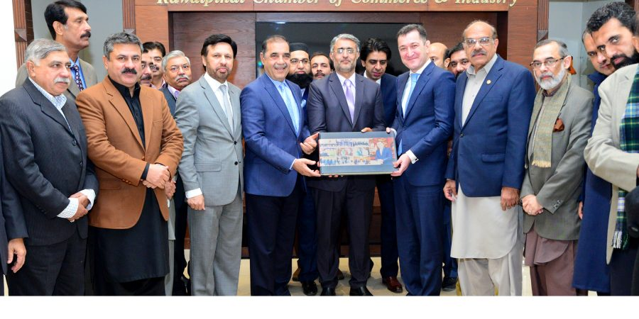 RCCI President Malik Shahid Saleem presenting Photo Album to Tajikistan, Sherali S. Jononov during his visit to the Chamber House here on Friday