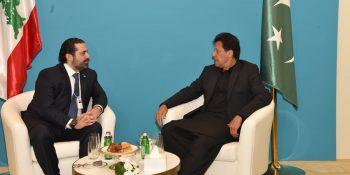 DUBAII, FEB 10: Prime Minister Imran Khan meets Saad El-Din Rafik Al-Hariri, Prime Minister of Lebanon, on  the sidelines of World Government Summit in Dubai.=DNA