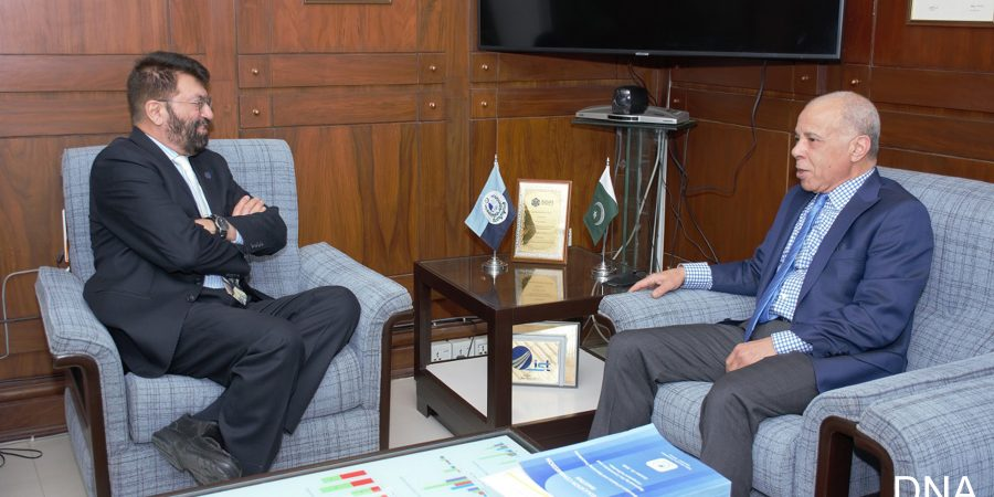 ISLAMABAD, FEB 10: Ambassador of Morocco Mohammad Karmoune in a meeting with Chairman  Higher Education Commision Tariq Banuri. DNA PHOTO
