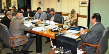 ISLAMABAD, FEB 7: Chairman NAB Justice (R) Javed Iqbal chairing a high level meeting. DNA