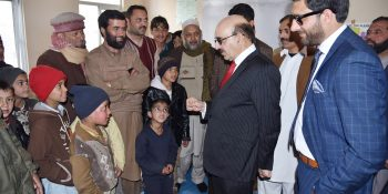President Masood visits LoC, interacts victims of Indian shelling affectees