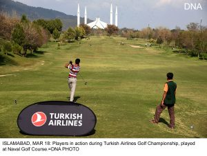 ISLAMABAD, MAR 18: Players in action during Turkish Airlines Golf Championship, played at Naval Golf Course.=DNA PHOTO