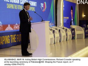 ISLAMABAD, MAR 19: Acting British High Commissioner, Richard Crowder speaking at the launching ceremony of Pakistan@100: Shaping the Future report, on Tuesday.=DNA PHOTO
