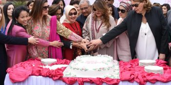 ISLAMABAD, MAR 8: Wife of President of Pakistan along with women hailing from various walks of life cutting cake to celebrate International Women Day, organised by Serena Hotels. DNA PHOTO