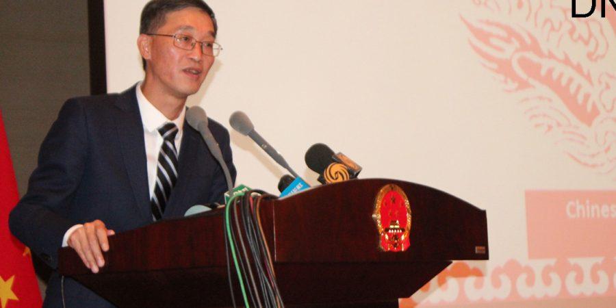 ISLAMABAD, APR 22: Ambassador of China, Yao Jing addressing a press conference, on Monday.=DNA PHOTO