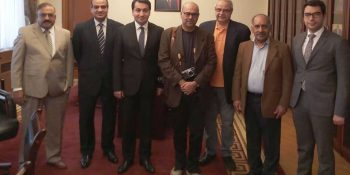 BAKU, MAY 01: A group of seionor Pakistani journalists led by  APNS President Hameed Haroon in a photo with Head of Foreign Policy Affairs, President of Azerbaijan office. DNA PHOTO