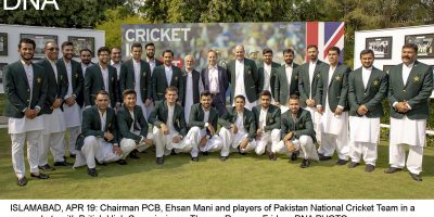 ISLAMABAD, APR 19: Chairman PCB, Ehsan Mani and players of Pakistan National Cricket Team in a group photo with British High Commissioner, Thomas Drew, on Friday.=DNA PHOTO