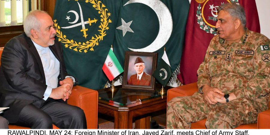 RAWALPINDI, MAY 24: Foreign Minister of Iran, Javed Zarif, meets Chief of Army Staff, General Qamar Javed Bajwa, at GHQ, on Friday.=DNA PHOTO