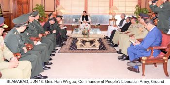 ISLAMABAD, JUN 18: Gen. Han Weiguo, Commander of People's Liberation Army, Ground Force of China along with his team meeting with Prime Minster Imran Khan at PM House.=DNA PHOTO