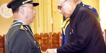 President Dr. Arif Alvi conferring Hilal-e-Imtiaz (Military) upon Commander of the People's Liberation Army (PLA) Ground Force of China General Han Weiguo at the Aiwan-e-Sadr, Islamabad on June 18, 2019.