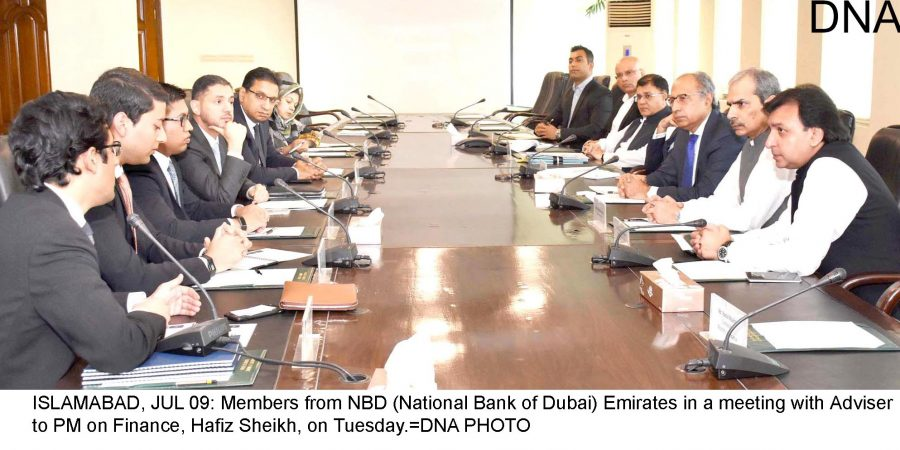 ISLAMABAD, JUL 09: Members from NBD (National Bank of Dubai) Emirates in a meeting with Adviser to PM on Finance, Hafiz Sheikh, on Tuesday.=DNA PHOTO
