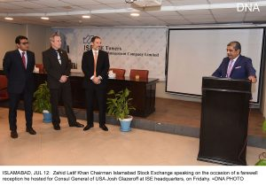 ISLAMABAD, JUL 12:  Zahid Latif Khan Chairman Islamabad Stock Exchange speaking on the occasion of a farewell reception he hosted for Consul General of USA Josh Glazeroff at ISE headquarters, on Fridahy. =DNA PHOTO