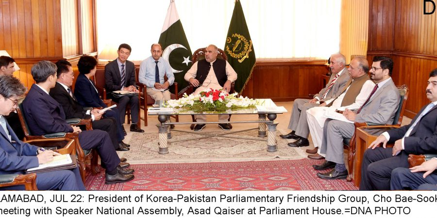 ISLAMABAD, JUL 22: President of Korea-Pakistan Parliamentary Friendship Group, Cho Bae-Sook, in  a meeting with Speaker National Assembly, Asad Qaiser at Parliament House.=DNA PHOTO