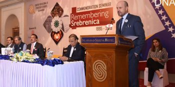 ISLAMABAD, JUL 08: Ambassador of Bosnia and Herzegovina Sakib Foric speaking on the occasion of a conference held in connection with Bosnian genocide and Srebrenica massacre 1992-95, organized jointly by the Bosnian embassy and CGSS.=DNA PHOTO