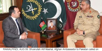 RAWALPINDI, AUG 09: Shukrullah Atif Mashal, Afghan Ambassador to Pakistan called on General Qamar Javed Bajwa, Chief of Army Staff (COAS) at GHQ.=DNA PHOTO