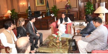 ISLAMABAD, AUG 09: A delegation of World Tourism Forum, led by President Executive Board Bulut Bagci called on Prime Minister Imran Khan.=DNA PHOTO