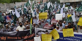 "Supporters of the Pakistani militant organisation Jamaat-ud-Dawa (JuD) take part in an anti-India protest rally in Karachi on August 5, 2019, in reaction to the move by India to abolish Kashmir's special status. - Pakistan on August 5 condemned India's move to abolish Kashmir's special status as ""illegal"", insisting it was an internationally recognised disputed territory. (Photo by ASIF HASSAN / AFP)        (Photo credit should read ASIF HASSAN/AFP/Getty Images)"