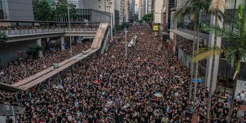 HONG KONG - JUNE 16: Protesters demonstrate against the now-suspended extradition bill on June 16, 2019 in Hong Kong. Large numbers of protesters rallied on Sunday despite an announcement yesterday by Hong Kong's Chief Executive Carrie Lam that the controversial extradition bill will be suspended indefinitely. (Photo by Carl Court/Getty Images)