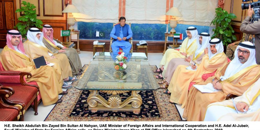 H?E. Sheikh Abdullah Bin Zayed Bin Sultan Al Nahyan, UAE Minister of Foreign Affairs and International Cooperation and H.E. Adel Al-Jubeir, Saudi Minister of State for Foreign Affairs calls Prime Minister Imran Khan at PM Office Islamabad on 4th September, 2019