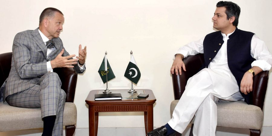 Ambassador of Germany to Pakistan, Bernhard Stephan Schlagheck called on Federal Minister for Economic Affairs, Muhammad Hammad Azhar in Islamabad on September 30, 2019.