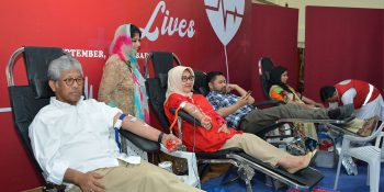 ISLAMABAD, SEPT 14:  Ambassador of Indonesia Iwan S Amri, his wife and others donating blood during a blood donation camp orgnaised jointly by  the  Indonesian embassy and Pakistan Red   Crescent Society, on Saturday. DNA
