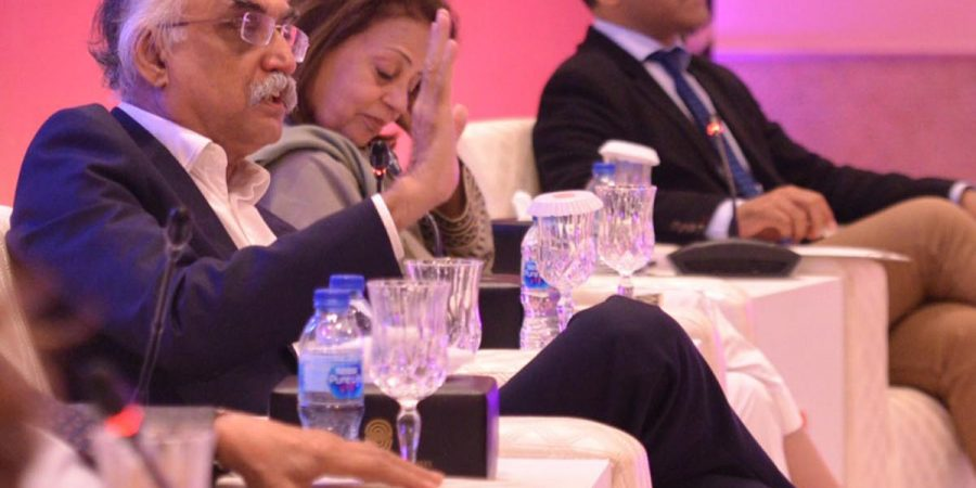 ISLAMABAD, OCT 5: Chairman FBR Shabbar Zaidi and others taking part in a dialogue organised by Serena Hotels under the title RABITA.=DNA PHOTO