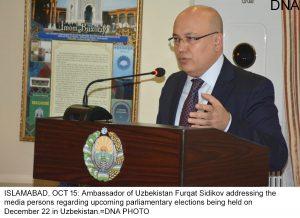 ISLAMABAD, OCT 15: Ambassador of Uzbekistan Furqat Sidikov addressing the media persons regarding upcoming parliamentary elections being held on December 22 in Uzbekistan.=DNA PHOTO