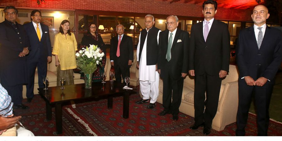 ISLAMABAD, OCT 12: Federal Minsiter for Defence Production Zubaida Jalal, Federal Interior Minister Ejaz shah, Federal Ministers Ali Zaidi, Ghulam Sarwar Khan ,Spanish ambassador Manuel Duran and others listening to national  anthems on the ocasion of national day of Spain. DNA