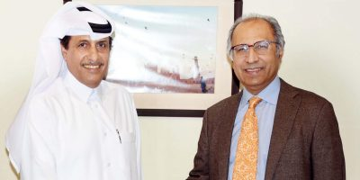 AMBASSADOR OF THE STATE OF QATAR TO PAKISTAN, MR. SAQR BIN MUBARAK AL MANSOURI IS BEING RECEIVED BY THE ADVISER TO THE PRIME MINISTER ON FINANCE & REVENUE, DR. ABDUL HAFEEZ SHAIKH AT FINANCE MINISTRY ON NOVEMBER 06, 2019