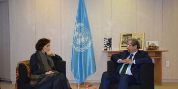 Pic Shafqat Mahmood Minister for Federal Education and Professional Training met UNESCO Director General Ms. Audrey Azoulay 1