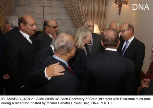 ISLAMABAD, JAN 21: Alice Wells US Asstt Secretary of State interacts with Pakistani think-tank during a reception hosted by former Senator Enwer Baig. DNA PHOTO
