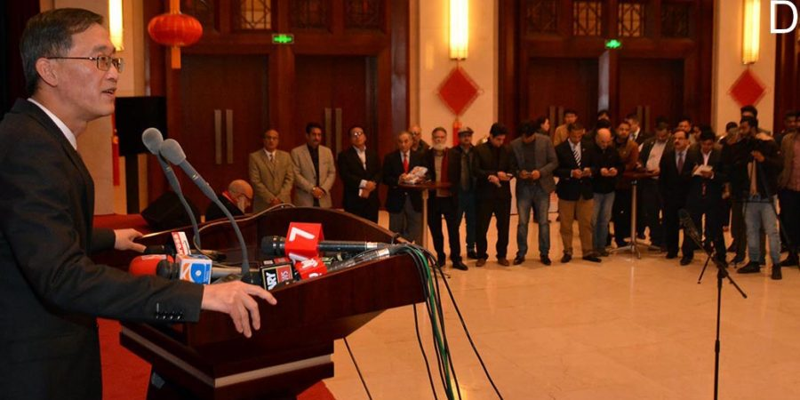 ISLAMABAD, JAN 15: Ambassador of People's Republic of China Yao Jing talking to members of Pakistani media and think-tank during a reception he hosted to mark new Chinese year.=DNA PHOTO