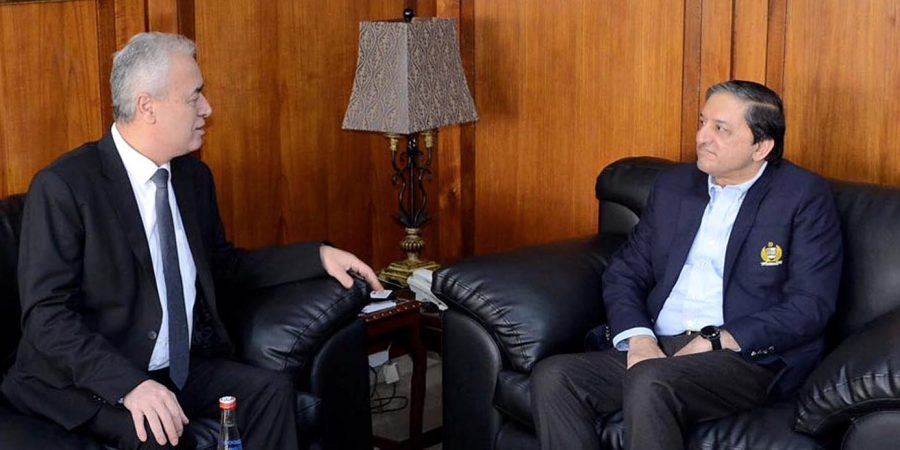 Islamabad : Palestinian Ambassador Mr. Ahmed Jawad Rabei condolences with deputy Chairman Senate Senator Saleem Mandviwala on sad demise of his son at Parliament House.— NNI, January 16, 2020