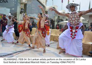 ISLAMABAD, FEB 04: Sri Lankan artists perform on the occasion of Sri Lanka food festival in Islamabad Marriott Hotel, on Tuesday.=DNA PHOTO