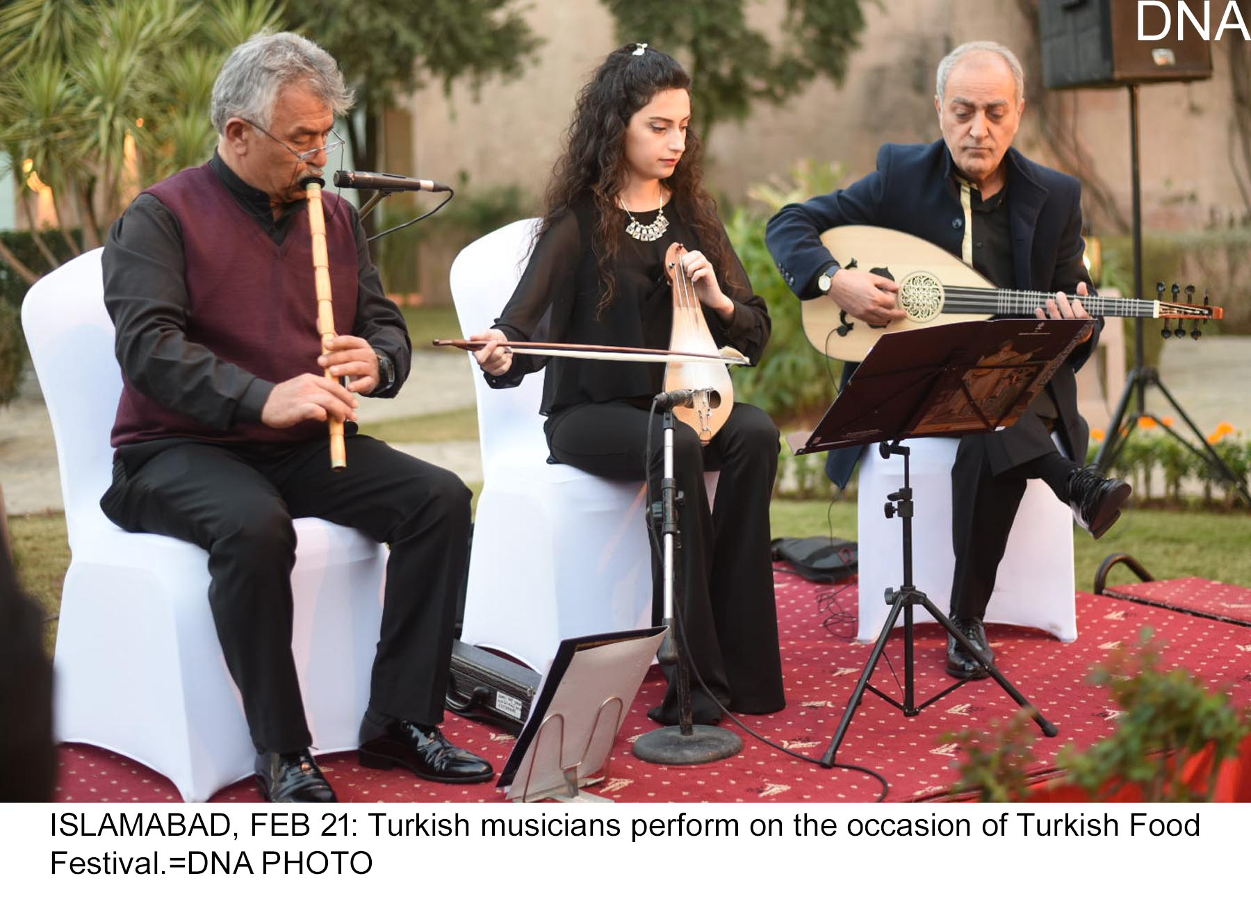 ISLAMABAD, FEB 21: Turkish musicians perform on the occasion of Turkish Food Festival.=DNA PHOTO