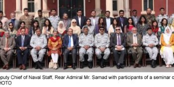 LAHORE, FEB 26: Deputy Chief of Naval Staff, Rear Admiral Mr. Samad with participants of a seminar on at Pakistan Navy War College.=DNA PHOTO